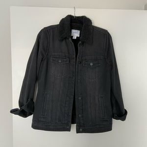 Faux fur lined denim jacket | size medium tall